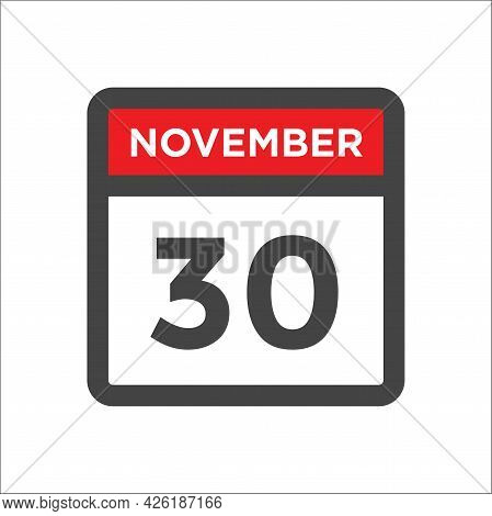 November 30 Calendar Icon W Day Of Month