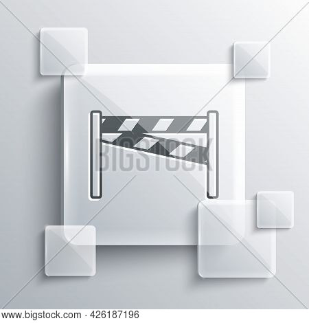 Grey Crime Scene Icon Isolated On Grey Background. Square Glass Panels. Vector