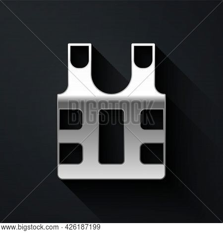 Silver Bulletproof Vest For Protection From Bullets Icon Isolated On Black Background. Body Armor Si