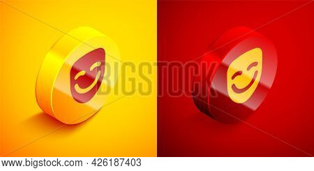 Isometric Comedy Theatrical Mask Icon Isolated On Orange And Red Background. Circle Button. Vector