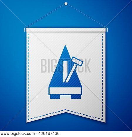 Blue Classic Metronome With Pendulum In Motion Icon Isolated On Blue Background. Equipment Of Music