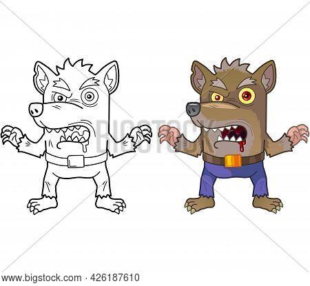 Cartoon Monster Werewolf, Coloring Book, Funny Illustration