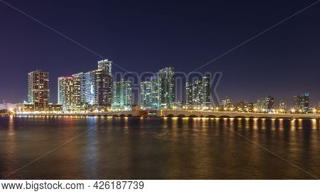 Miami - Dec 22: Miami Skyline And The Venetian Causeway At Night On December 22, 2012. Miami Is The