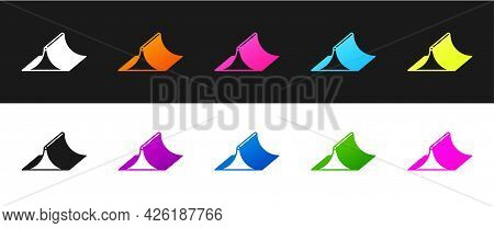 Set Skate Park Icon Isolated On Black And White Background. Set Of Ramp, Roller, Stairs For A Skatep