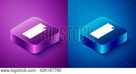 Isometric Grip Tape On A Skateboard Icon Isolated On Blue And Purple Background. Square Button. Vect
