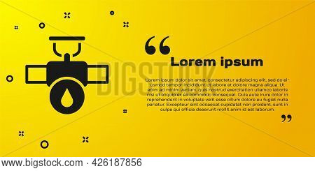 Black Industry Metallic Pipe And Valve Icon Isolated On Yellow Background. Vector