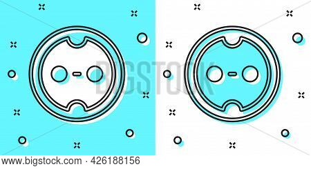 Black Line Electrical Outlet Icon Isolated On Green And White Background. Power Socket. Rosette Symb