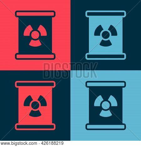 Pop Art Radioactive Waste In Barrel Icon Isolated On Color Background. Toxic Refuse Keg. Radioactive