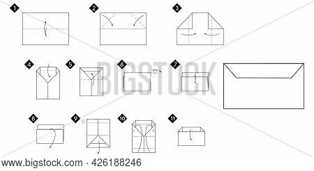 How To Make A Origami Envelope Vector Illustration. Monochrome Black Line Step By Step Diy Instructi
