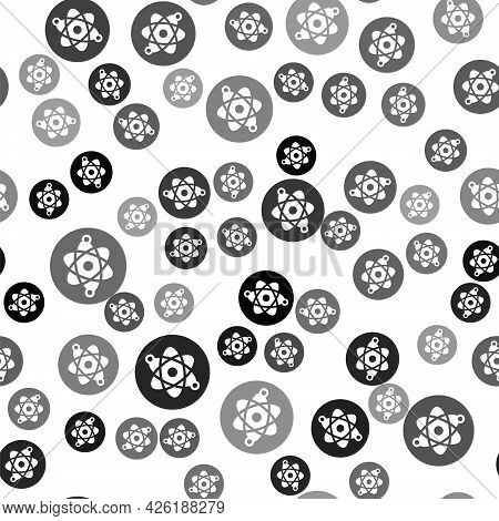 Black Atom Icon Isolated Seamless Pattern On White Background. Symbol Of Science, Education, Nuclear