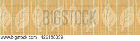 Burlap Texture Ribbon With Blended Leaves Vector Seamless Border. Canvas Textured Banner With Foliag