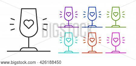 Black Line Wine Glass Icon Isolated On White Background. Wineglass Sign. Favorite Wine. Set Icons Co