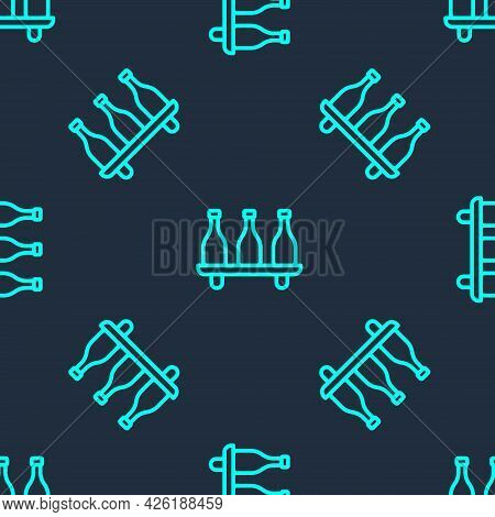 Green Line Bottle Of Wine Icon Isolated Seamless Pattern On Blue Background. Wine Varieties. Vector