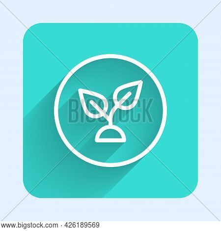 White Line Plant Based Icon Isolated With Long Shadow Background. Green Square Button. Vector