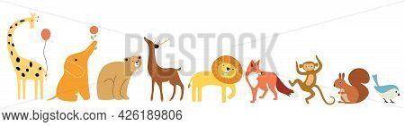 Cute Animals Stand In A Row On A White Background. A Yellow Giraffe With A Balloon, An Orange Elepha