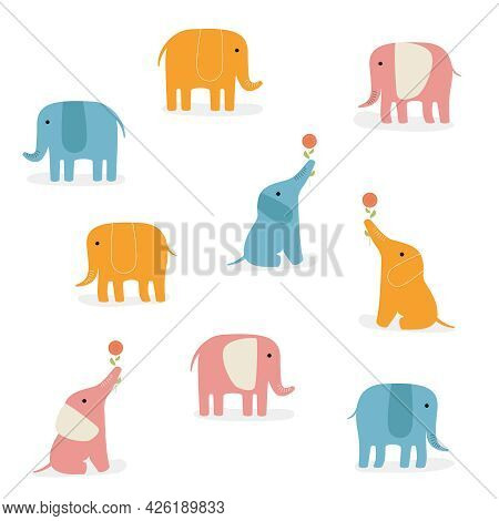 Vector Set Of Cute Drawn Elephants. African Or Indian Blue, Dark Blue And Gray Elephant In Various P