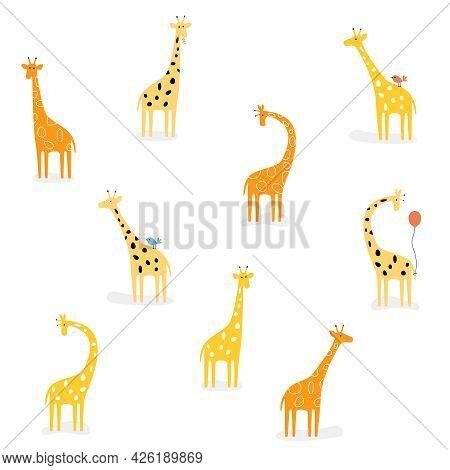 Vector Set Of Cute Drawn Giraffes. African Orange, Yellow Giraffe In Various Poses.