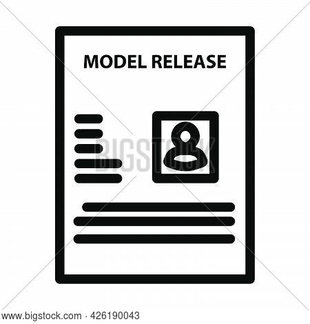 Icon Of Model Release Document. Bold Outline Design With Editable Stroke Width. Vector Illustration.