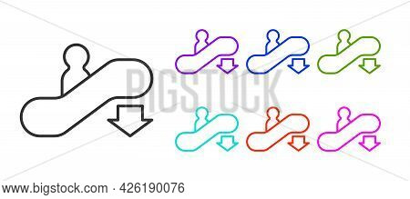 Black Line Escalator Down Icon Isolated On White Background. Set Icons Colorful. Vector