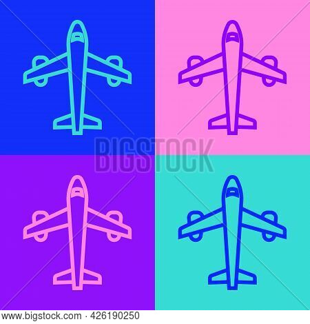 Pop Art Line Plane Icon Isolated On Color Background. Flying Airplane Icon. Airliner Sign. Vector