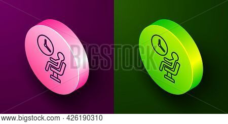Isometric Line Human Waiting In Airport Terminal Icon Isolated On Purple And Green Background. Circl