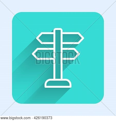 White Line Road Traffic Sign. Signpost Icon Isolated With Long Shadow Background. Pointer Symbol. Is