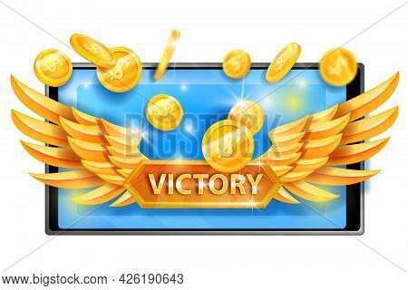 Victory Game Concept, Winner Reward Vector Icon, Dollar Coins, Smartphone Screen, Golden Wings. Casi