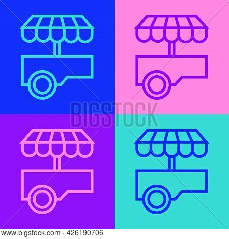 Pop Art Line Fast Street Food Cart With Awning Icon Isolated On Color Background. Urban Kiosk. Vecto