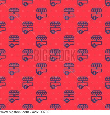 Blue Line Fast Street Food Cart With Awning Icon Isolated Seamless Pattern On Red Background. Urban