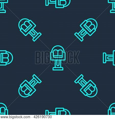 Green Line Attraction Carousel Icon Isolated Seamless Pattern On Blue Background. Amusement Park. Ch