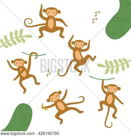 Vector Set Of Cute Drawn Monkeys. African Brown Monkey In Different Poses In The Jungle.