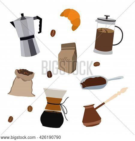 Vector Set Of Filter For Coffee, Teapot, Croissant, Grains, Coffee Bag, Espresso, Americano.