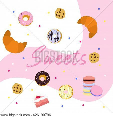 Cute Vector Set Of Sweets For Tea And Coffee. Donut, Cookies, Macaroon, Croissant, Pink, Break, Lunc