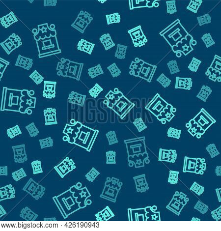 Green Line Ticket Box Office Icon Isolated Seamless Pattern On Blue Background. Ticket Booth For The