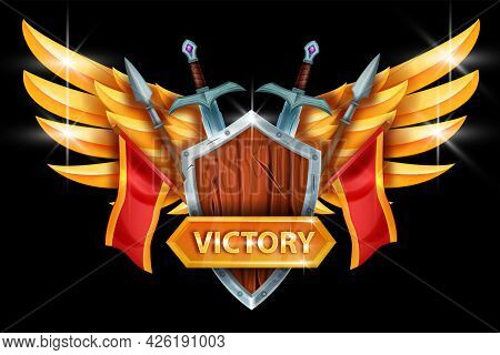 Victory Game Icon, Vector Trophy Winner Illustration, Golden Wings, Wooden Shield, Iron Swords, Spea