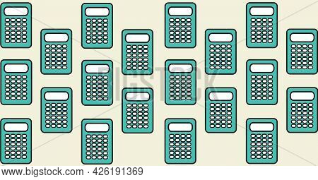 Composition of blue calculators repeated in rows on beige background. school, education and study concept digitally generated image.