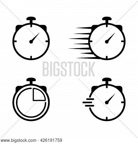Set Of Timer, Clock, Stopwatch Icons. Countdown Timer Vector Icon Illustration
