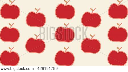 Composition of red apple halves repeated in rows on beige background. school, healthy eating, education and study concept digitally generated image.