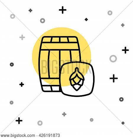 Black Line Wooden Barrel Icon Isolated On White Background. Alcohol Barrel, Drink Container, Wooden