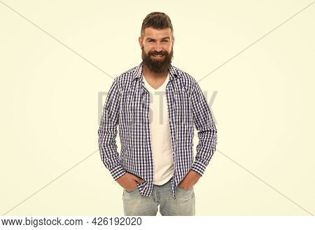Facial Care. Handsome Guy With Beard And Moustache Isolated On White. Male Express Emotions.