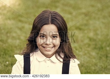 Happy Kid With Cute Smile Wear Classy School Uniform Formal Fashion Style Natural Background, Knowle