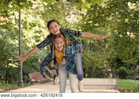 Cool Moments. Childhood Lifestyle Concept. Togetherness. Happy Childrens Day. Funny Time Spending. C
