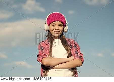 Confident Girl Child In Casual Fashion Style Listen Music Keeping Arms Crossed Sunny Sky, Confidence