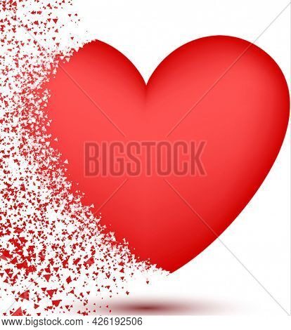 Heart Shattered Into Pieces On The Right Side, Perhaps To Signify Heartbreak, Or Freedom
