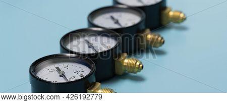Manometry for measuring pressure. Closeup of manometer, measuring gas pressure.