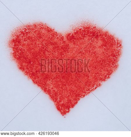 Red Heart Painted With Paint On The Snow, Surprise For Valentine's Day, I Love Winter, Winter Heart
