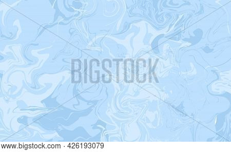 Vector Abstract Horizontal Background Or Wallpaper In Blue Colors. Gradient Blurs, Spots And Blots.