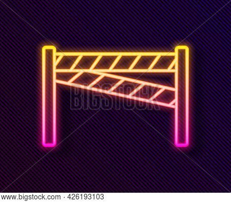 Glowing Neon Line Crime Scene Icon Isolated On Black Background. Vector