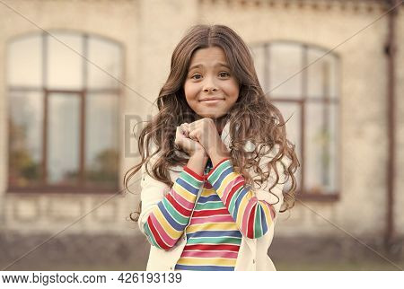 Small Girl Gorgeous Hairstyle Adorable Smile Urban Background, So Cute Concept