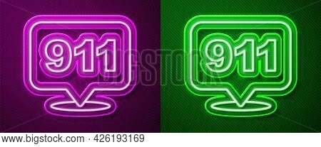 Glowing Neon Line Telephone With Emergency Call 911 Icon Isolated On Purple And Green Background. Po